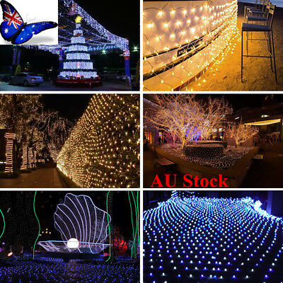 AU LED String Fairy Lights Net Mesh Curtain Xmas Wedding Party Outdoor Home Lamp