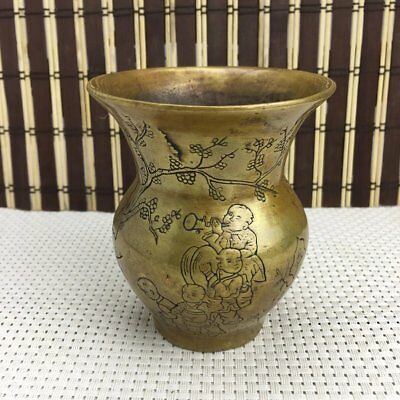chinese old copper hand engraving flower and child vase/ qianlong mark