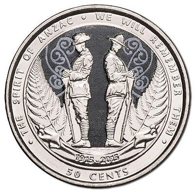 2015 New Zealand 1st Ever Coloured Coin Anzac 50¢ Uncirculated