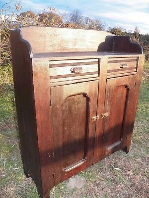 Late 1800's Jelly Cupboard Primtive wall cabinet storage rustic wood