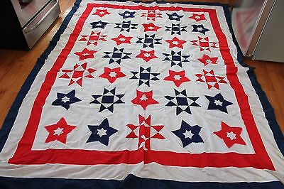 1940's WWII Red, White, and Blue Stars Quilt Top - Pieced and Appliqued