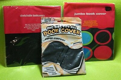 Lot of 3 Stretchable Fabric Book Covers Black and with Circle Designs Jumbo Size