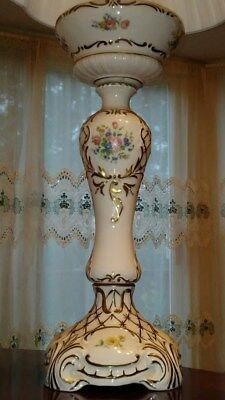 Vintage French Country White Porcelain Table Lamp With Gilding Rose Buds Floral