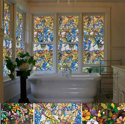 Static Clung  Window Film Frosted Stained Flower Glass Sticker Privacy 3 COLORS