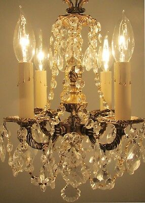Vintage Petite Brass and Crystals Chandelier 4 Lights Small - Spain