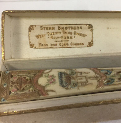 Museum Quality Antique Hand Painted Scene Fan W/ Original Box Stern Bros Ny