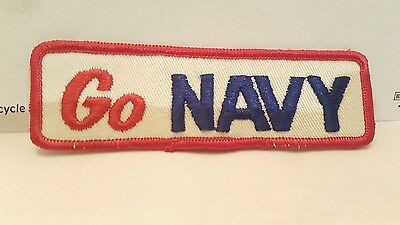 "Vintage Navy Color Patch, ""Go Navy"" US Navy"" 4 3/4 x 1 1/2 inches"