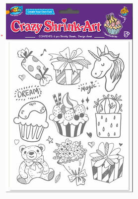 New Kids Shrink Art 6 Plastic Shrink Sheets Pack Amazing Magical DIY Craft Bake