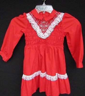 Vintage Girls Smocked Dress Sz 5 Red Long Sleeves Winnie the Pooh Walt Disney