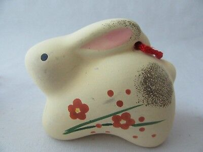 Japanese Clay Bell Vintage Hand Painted Rabbit Lucky Zodiac Ceramic Dorei