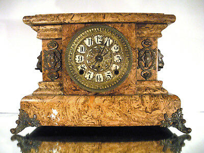 Antique Ornate SETH THOMAS Butterscotch Adamantine Mantel Clock Lions Footed