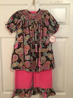 Southern Tots NWT Girls Size 8 Pink Cord Smocked Outfit