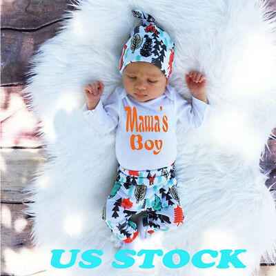 US Stock Newborn Baby Boys Girls Infant Romper Jumpsuits Bodysuit Cotton Outfit