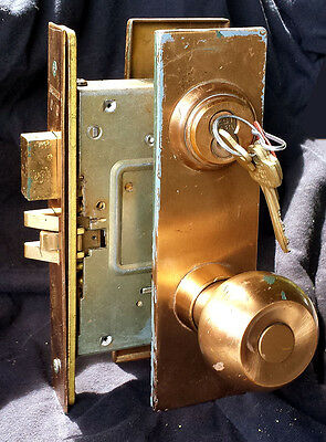 2 availble Vintage Bronze Exterior Entry Commercial Door Lockset Knob Plate Lock