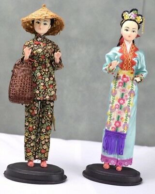"""Antique vintage Chinese Doll 1960s Old Fabric Dress China Plastic Dolls 11"""""""