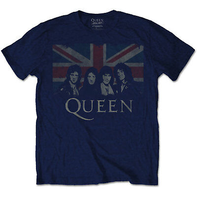 New  Queen Men's Tee: Union Jack (Small) Small Navy Blue
