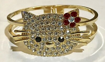 Vintage Gold tone Jeweled Kitty Cat Clamper Bracelet