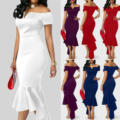 UK Womens Off Shoulder Bodycon Evening Party Dress Ladies Formal Wedding Dress