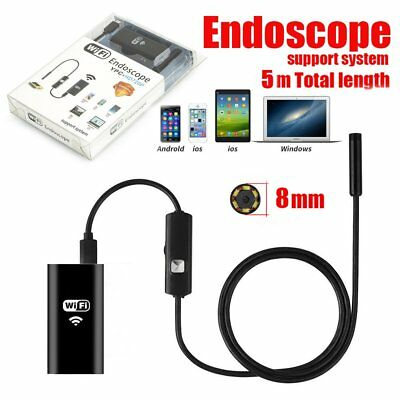 8mm 6LED Waterproof WiFI Borescope Inspection Endoscope Snake Camera For iPhone