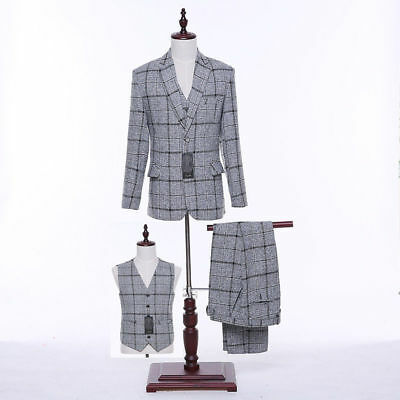 Light Gray Plaid Pattern Men Wedding Suits Groom Tuxedos Formal Business Suits