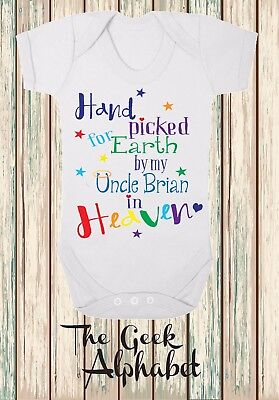 Hand Picked For Earth by My Uncle in Heaven + Name Free Rainbow Baby Clothes