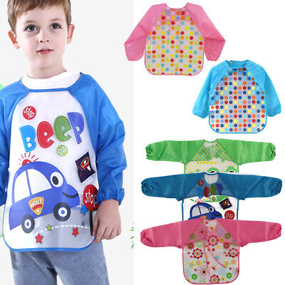 UK Seller Baby Toddler Kids Long Sleeve Waterproof Coverall Art Craft Apron Bib