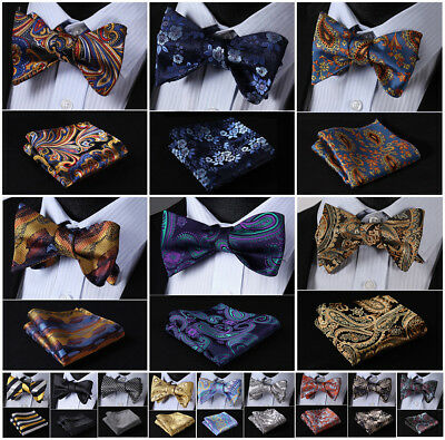 Hisdern Men Paisley Bow Tie Self Tie Gold Jacquard Silk Handkerchif Hanky Set