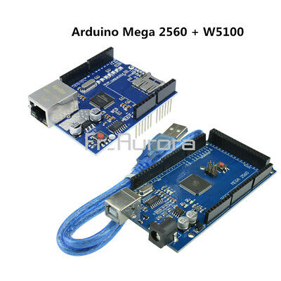 Mega2560 Atmega2560-16AU CH340G UNO R3 Board W5100 Ethernet Shield Board