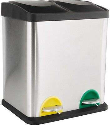 HOME 30 Litre Recycling Pedal Bin with 2 Compartments