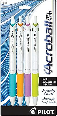 Pilot Acroball PureWhite Black Advanced Ink Ball Point Fine Pt, 2 Pks. of 4 each