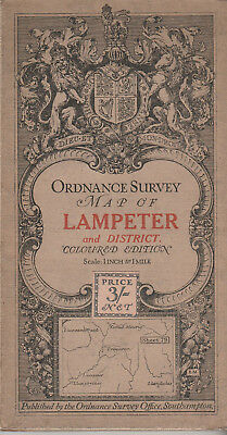 Ordnance Survey Cloth Map Sheet 79 - Lampeter And District 1912 - Coloured