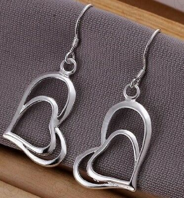 Silver Plated Double Heart Earrings Love Drop Dangle Hook Uk Seller Twin E49