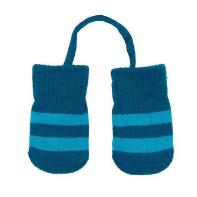 BNWT Villervalla Blue Stripe Knitted Baby Mittens with String NEW