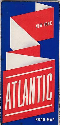 Excellent Old Vintage ATLANTIC Gas Oil White Flash Road Map - New York