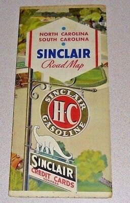 Old 1930's SINCLAIR Gas Oil 5 Panel Road Map - North & South Carolina w/ Dino