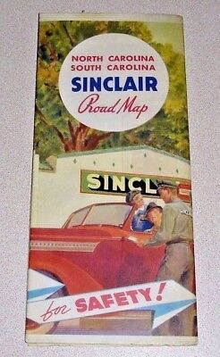 1930's Vintage SINCLAIR Gas Oil 5 Panel Road Map - North & South Carolina