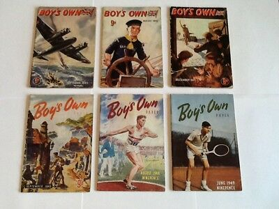 Collection Of Six Vintage Boys Own Magazines 1943 - 1949