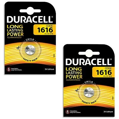 2 Packs of 1x Duracell CR1616 3V Lithium Button Coin Cell Battery DL1616 1616