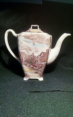 Vintage Johnson Bros. Olde English Countryside Footed Coffee Pot with Lid teapot