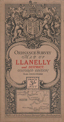 Ordnance Survey Cloth Map Sheet 101 - Llanelly And District 1911 - Coloured