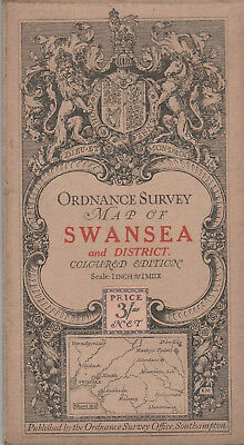 Ordnance Survey Cloth Map Sheet 102 - Swansea And District 1911 - Coloured