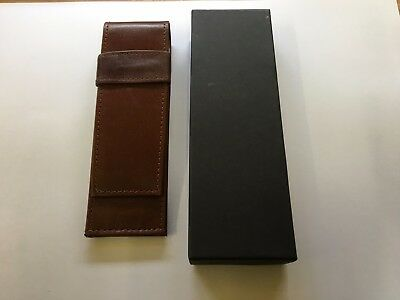 Genuine brown Leather Pen/ Holder Case BOXED.