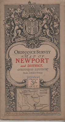 Ordnance Survey Cloth Map Sheet 103 - Newport And District 1914 - Coloured