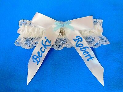 Wedding Bridal Garter.  Something Blue. White Garter. Personalised.