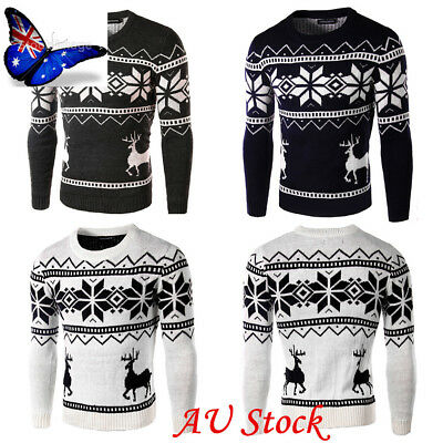 AU Mens Boy Christmas O Neck Snowflake+Knitted Sweater Pullover Jumper Warm Coat