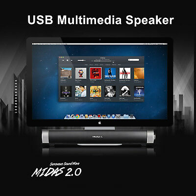 MIDAS 2.0 USB Multimedia Sound Bar Speaker System For PC Computer Desktop Laptop