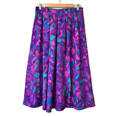 Vintage Abstract Print Midi Skirt Size 12 bright colourful purple pink