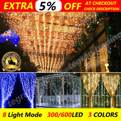 300/600Led Curtain Fairy Lights Wedding Indoor Outdoor Christmas Garden Party AU