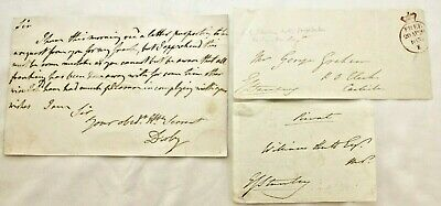 Three signatures Earl of Derby (Edward Smith Stanley) 1799-1869 VG