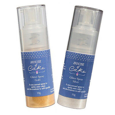 GOLD/SILVER/BLUSH HOUSE OF CAKE GLITTER SPRAY METALLIC 10g CAKE DECORATING